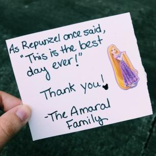 Recebi essa cartinha no último dia de trabalho depois de fazer um Magical Moment com uma família muito fofa!